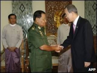 TTK LHQ Ban ki moon và lãnh tụ Miến Điện Than Shwe