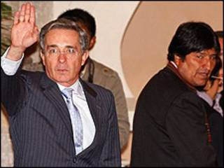 Álvaro Uribe e Evo Morales