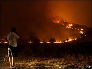 Incendio en las cercanías de Atenas