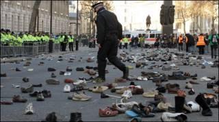 Cena após protesto em Londres (arquivo)