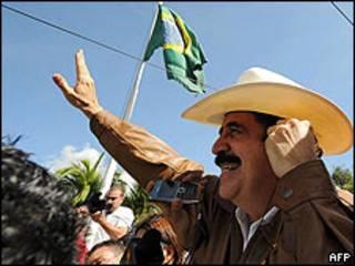 O presidente deposto de Honduras, Manuel Zelaya
