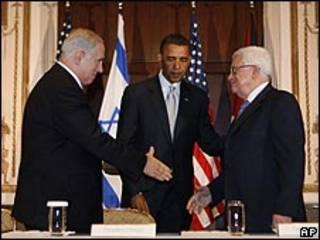 Benjamín Netanyahu, Barack Obama y Mahmoud Abbas