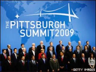 Líderes reunidos na cúpula do G20 em Pittsburgh, nos Estados Unidos