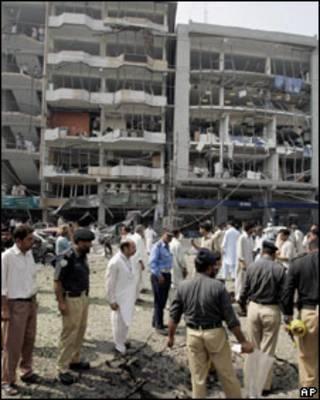 Zona del ataque en Peshawar