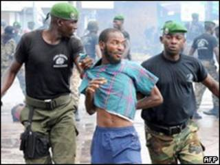 Manifestantes en Guinea