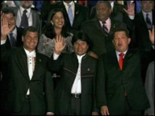 Líderes da Alba durante cúpula na Bolívia
