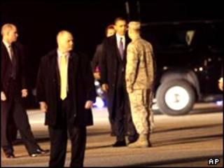 اوباما در پایگاه نظامی