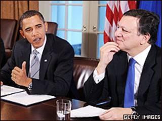 Barack Obama y Jose Manuel Barroso