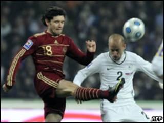 Игровой момент матча Россия-Словения