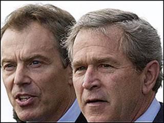 O ex-premiê britânico Tony Blair e o ex-presidente americano George W.Bush