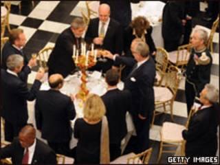 O presidente Luiz Inácio Lula da Silva durante jantar no Palácio Real em Copenhague