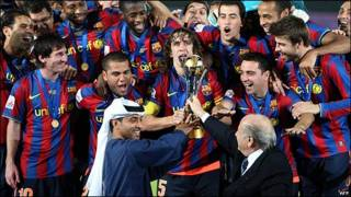 Jugadores del FC Barcelona celebrando su victoria en el Mundial de Clubes