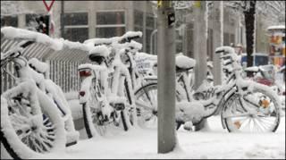 Münih'te kar