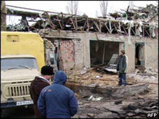 Место взрыва в Махачкале 6 января 2010 года