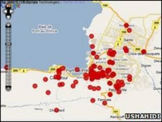 Ushahidi é uma ferramenta virtual que sobrepõe mapas da internet