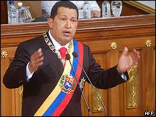 Hugo Chávez, presidente de Venezuela, en la Asamblea Legislativas