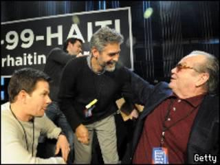 Mark Wahlberg, George Clooney e Jack Nicholson durante o evento de sexta-feira