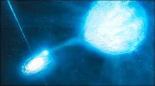 Representação artística do buraco negro entrelaçado com a estrela /imagem: Observatório Europeu do Sul (ESO, na sigla em inglês)