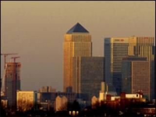 Vista da região financeira de Canary Wharf, em Londres