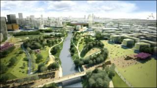 Imagem ilustrativa de como deve ser o Parque Olímpico Londres daqui vinte anos