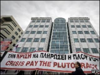 Protesta de trabajadores en Grecia