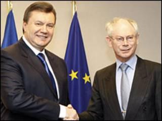 Віктор Янукович і президент ЄС Ван Ромпой