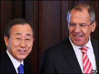 Госсекретарь США Хиллари Клинтон и генсек ООН Пан Ги Мун (12 марта 2010 года)