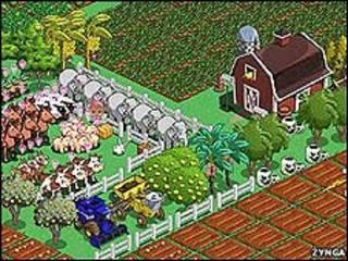 Una granja en FarmVille.