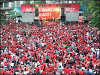Manifestação em Bangcoc
