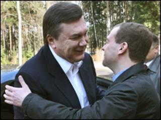 Президнт Янукович та президент Медвєдєв у Росії 5 квітня