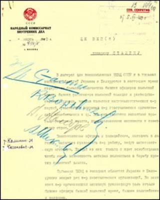 Сталин маъқуллаган отиш тавсия этилган махфий ҳужжат