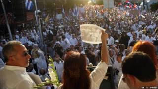 Manifestación de apoyo a las Damas de Blanco en la Calle Ocho, Miami