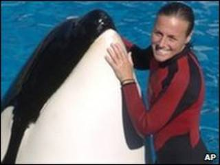 Dawn Brancheau junto com outra baleia (arquivo)