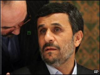 Mahomoud Ajmadinejad en una conferencia en la ONU