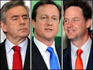 ब्रिटेन में तीन प्रमुख पार्टियों के नेता