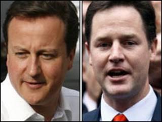 保守党领袖卡梅伦和自民党领导人克莱格