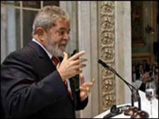 O presidente Luiz Inácio Lula da Silva durante seminário em Madri nesta quarta-feira (Foto: Ricardo Stuckert / PR)