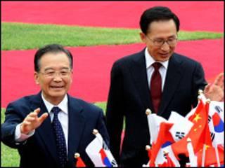 वेन जियाबाओ और ली म्यंग-बाक