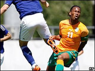 Didier Drogba, jugador de la selección de fútbol de Costa de Marfil.