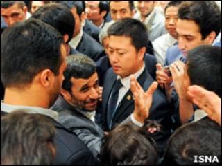 O presidente do Irã, Mahmoud Ahmadinejad, na China