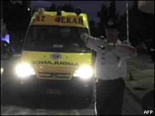 Полиция у здания министерства общественного порядка в Афинах