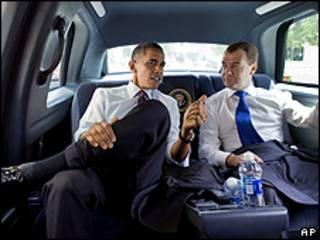Obama e Medvedev voltaram juntos no mesmo carro