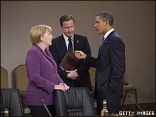 Angela Merkel, David Cameron e Barack Obama no Canadá (Getty)