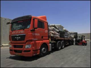 Вантажівки з продуктами до смуги Ґаза
