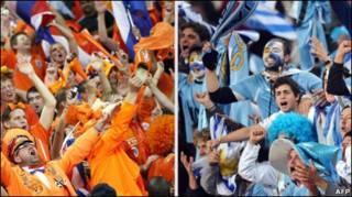 torcedores do Uruguai e da Holanda