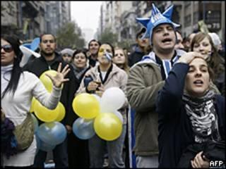 Torcida uruguaia em Montevidéu