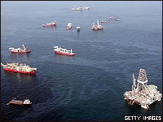Operación de limpieza en el Golfo de México