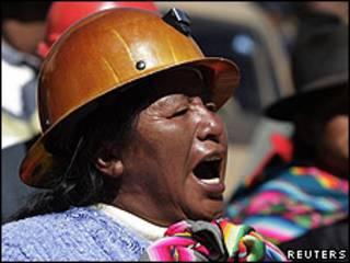 Una minera boliviana en la protesta.