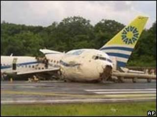 Avião após acidente na Colômbia