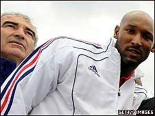 Nicolas Anelka y Raymond Domenech